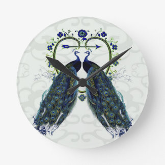PEAFOWL peacock love heart personalized Round Clock