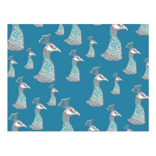 Peahen Bird Pattern on Teal Blue. Post Cards