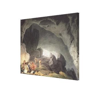Peaks Hole, Derbyshire (colour engraving) Canvas Print