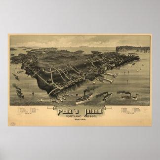 Peak's Island Maine 1886 Antique Panoramic Map Poster