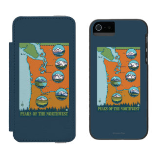 Peaks of the Northwest - 5 Different Mountains Incipio Watson™ iPhone 5 Wallet Case
