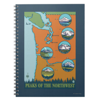 Peaks of the Northwest - 5 Different Mountains Notebook