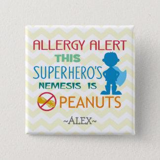 Peanut Allergy Alert Superhero Boy Button