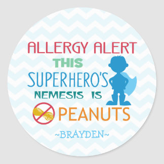 Peanut Allergy Alert Superhero Boy Stickers