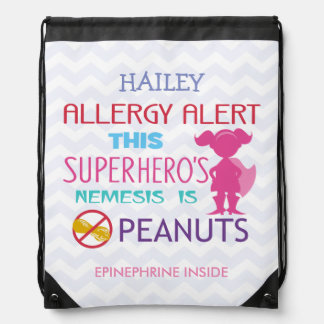 Peanut Allergy Alert Superhero Girl Drawstring Bag