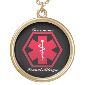 Peanut Allergy Medical Alert Gold Plated Necklace