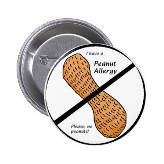 Peanut Allergy Warning 6 Cm Round Badge