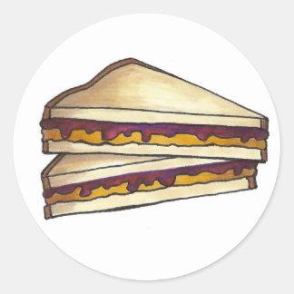 Peanut Butter and Grape Jelly Sandwich PBJ Lunch Classic Round Sticker