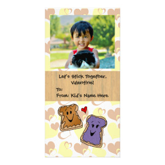 Peanut Butter and Jelly Cute Kid's Valentine Photo Card Template