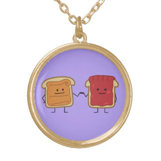 Peanut Butter and Jelly Fist Bump friends toast Gold Plated Necklace