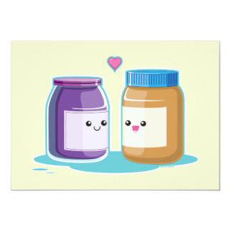"""Peanut Butter and Jelly 5"""" X 7"""" Invitation Card"""