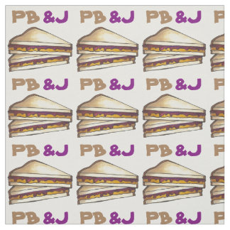 Peanut Butter and Jelly Sandwich PB&J Food Fabric