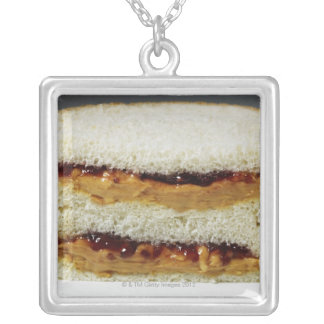 Peanut butter and jelly sandwich. silver plated necklace
