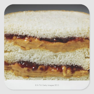 Peanut butter and jelly sandwich. square sticker