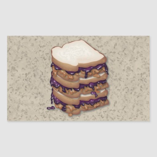 Peanut Butter and Jelly Sandwiches Rectangle Stickers