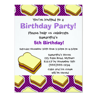 Peanut Butter and Jelly Themed  - Grape Jelly 11 Cm X 14 Cm Invitation Card