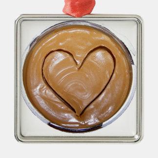 Peanut Butter Heart Silver-Colored Square Decoration