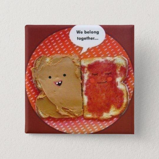 peanut butter jelly best friends 15 cm square badge