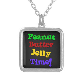 Peanut Butter Jelly Time Square Pendant Necklace