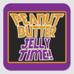 Peanut butter jelly time square stickers
