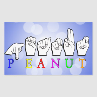 PEANUT FINGERSPELLED ASL NAME RECTANGULAR STICKER