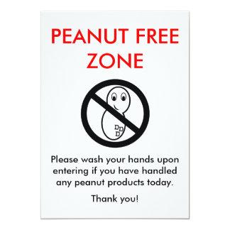 Peanut Free Zone Card 13 Cm X 18 Cm Invitation Card