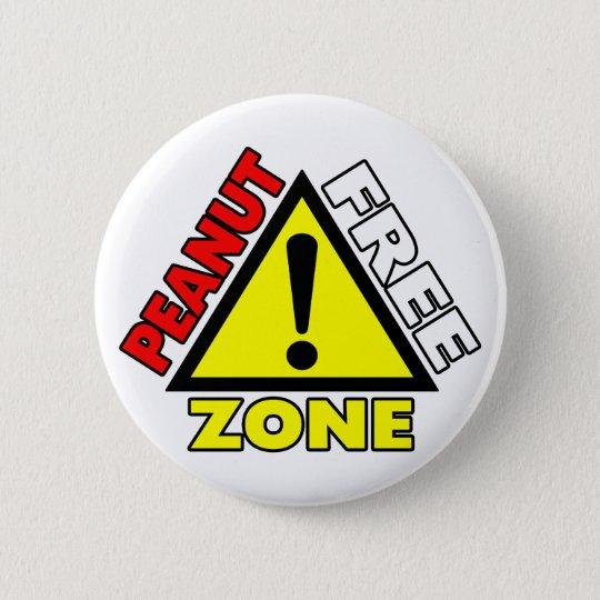 Peanut Free Zone (Peanut Allergy) 6 Cm Round Badge