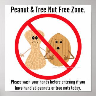 Peanut Tree Nut Free Zone Food Allergy Print