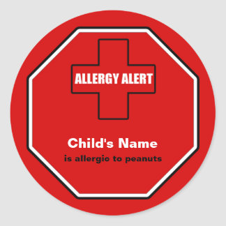 Peanuts Allergy Medical Alert Custom Std Sticker