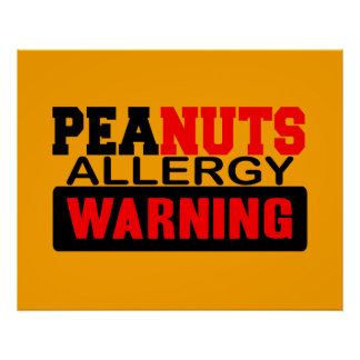 Peanuts Allergy Warning Poster