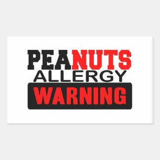 Peanuts Allergy Warning Rectangular Sticker