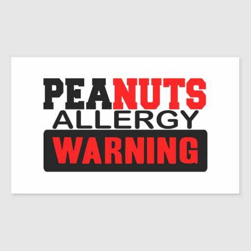 Peanuts Allergy Warning Rectangle Stickers