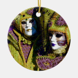 Pear and Antique Fuchsia Carnival Costumes Christmas Ornament