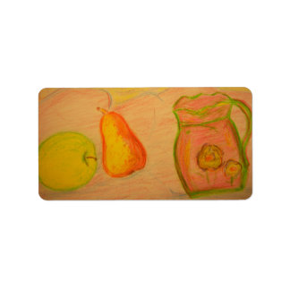 pear and apple sketch address label