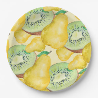 Pear and Kiwi 9 Inch Paper Plate