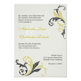 Pear & Charcoal Swirls Damask Elegant Wedding 13 Cm X 18 Cm Invitation Card