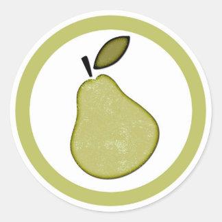 Pear flavor circle sticker labels