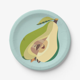 Pear fruit illustration 7 inch paper plate