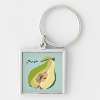 Pear fruit illustration personalize Silver-Colored square key ring