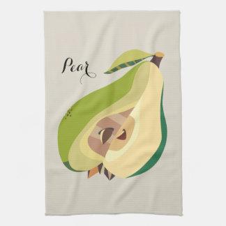 Pear fruit illustration personalize tea towel