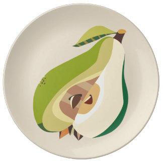 Pear fruit illustration porcelain plates
