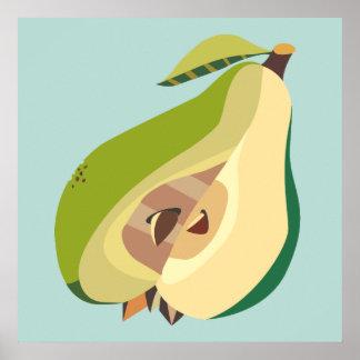 Pear fruit illustration poster