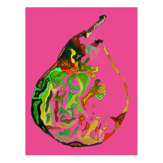 Pear fruit pop art watercolour illustration postcard