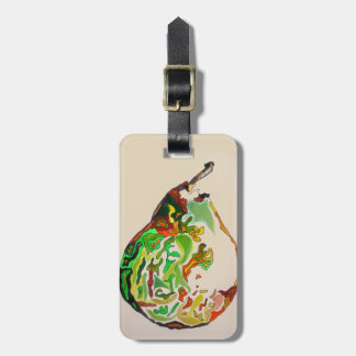 Pear fruit watercolour illustration luggage tag