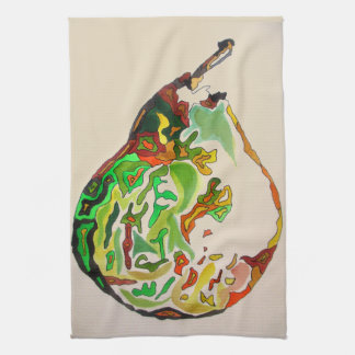Pear fruit watercolour illustration tea towel