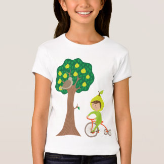 Pear Girl on Bike with a Partridge in a Pear Tree T-Shirt