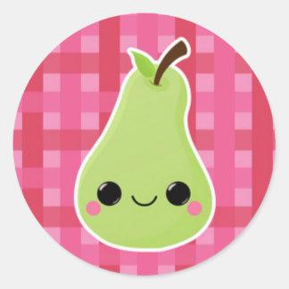 Pear on Pink Lattice Classic Round Sticker