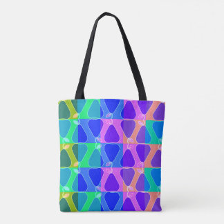 Pear pattern in blue tote bag