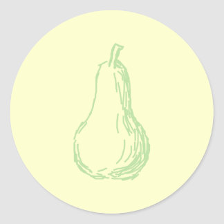 Pear Sketch. Line drawing in light green. Classic Round Sticker
