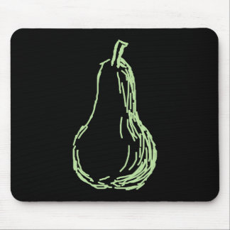 Pear Sketch. Line drawing in light green. Mouse Pad